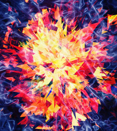 an outburst: fire burst and broken elements background Stock Photo