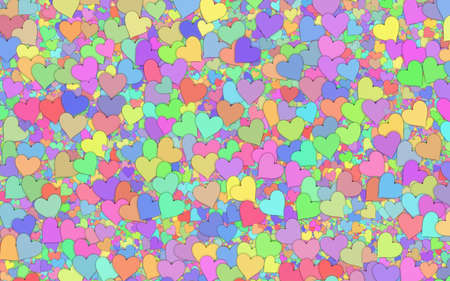 backgrounds texture: many small multicolored hearts backgrounds. Love texture. panoramic format