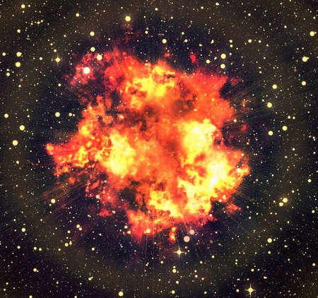emit: bright explosion flash on space background. fire burst Stock Photo