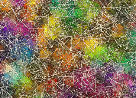 plotting: different geometrical Shapes in Chaotic Arrangement. Abstract scientific backgrounds