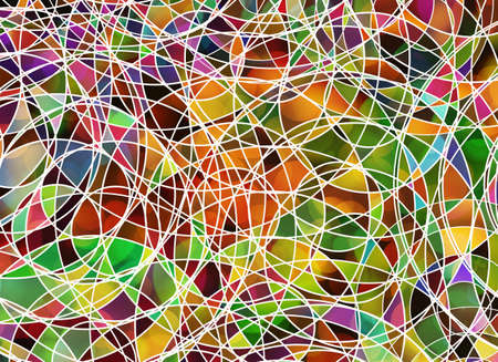 disorderly: many tangled lines on multicolored backgrounds. Abstract art texture