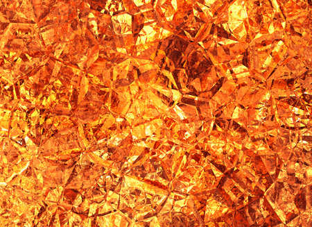 golden colored relief crystal fire background Stock Photo