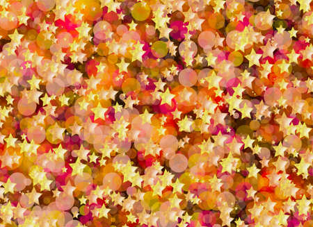 rounds: many flying gold stars and rounds bokeh background