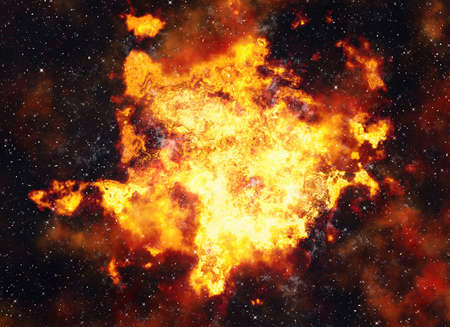irradiate: bright explosion flash on space backgrounds. fire burst