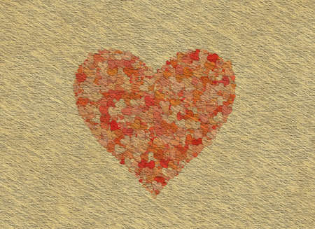 Vintage Paper Texture with painted hearts Stock Photo