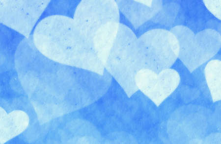 dreamy: dreamy light soft hearts from snow on blue background