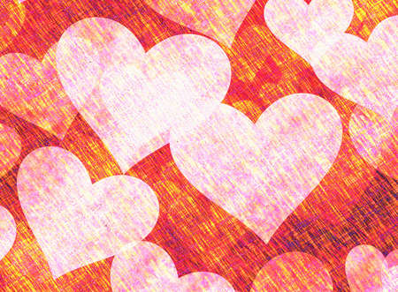 discolored: Vintage Paper Texture with painted hearts Stock Photo