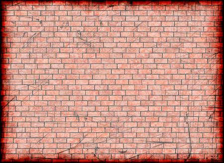 broken frame of red brick background