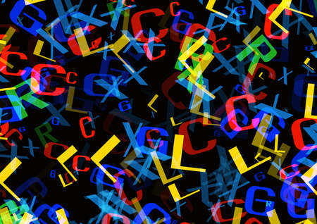 chaotical: abstract multicolored flying alphabet letters background