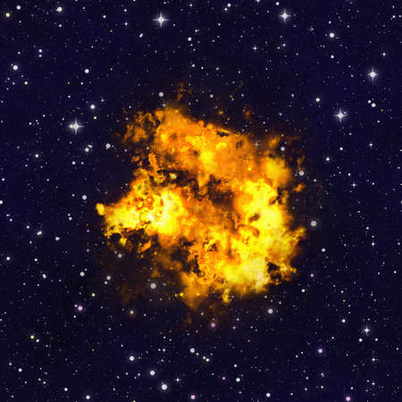 bright explosion fire flash on space background