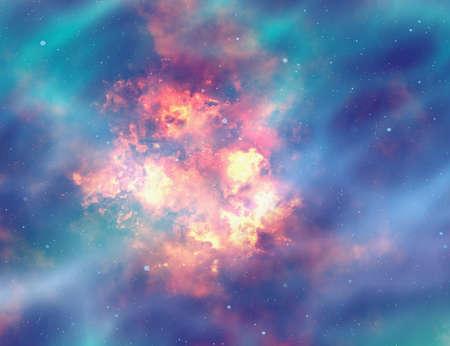 resplandor: fuego de explosión brillante en el fondo del espacio Foto de archivo