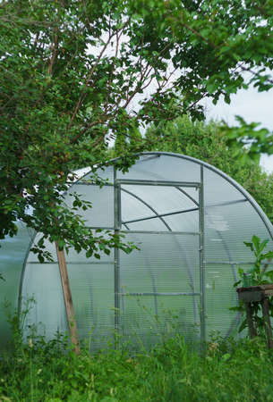 polycarbonate: summer hothouse of polycarbonate Stock Photo