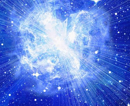 우주에서 밝은 파란색 전기 행성을 버스트
