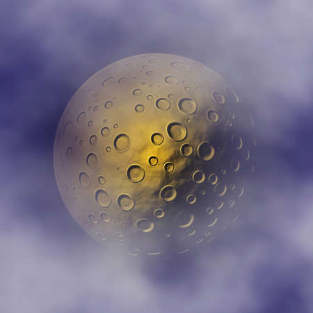 crater moon on clouds sky background
