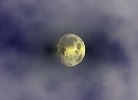 empty moon on clouds sky background. This is no NASA photo, this is render image