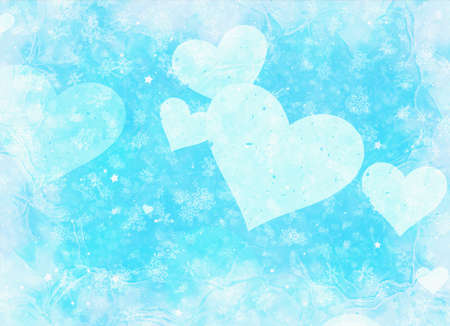 frame with hearts on snowfall and stars background Stock Photo