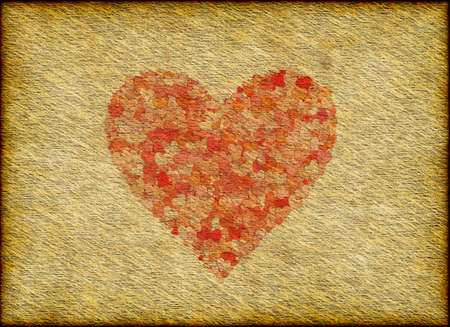 Vintage Paper Texture with painted heart Imagens