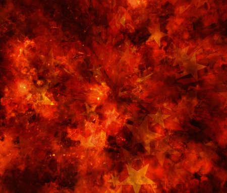 burning fire burst background with stars