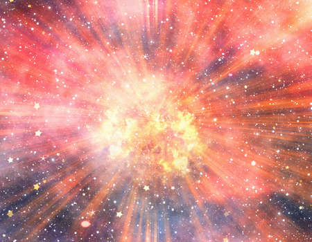bright explosion fire flash on a space backgrounds Stock Photo