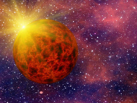 hot fire planet on space stars background