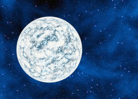 cold frozen desert planet on space stars backgrounds. This is no nasa photo, this is render image