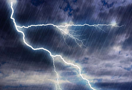 rain storm backgrounds with lightning in cloudy weather. this is illustration, no photo. Render of photoshop filters