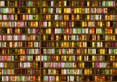 background of many colored books in the bookcase Imagens