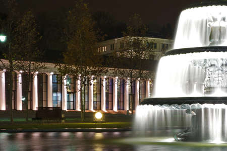 Wiesbaden city at night, a fontaine with the casino in the background