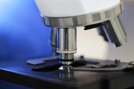 Microscope with blue background Stok Fotoğraf