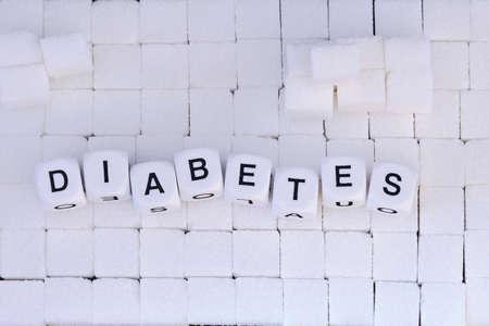 手紙キューブを形成する上から単語の糖尿病の下で砂糖キューブ