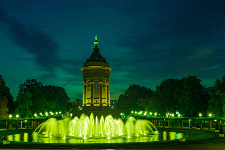 Mannheim - water tower in park w nightly illumination Stok Fotoğraf
