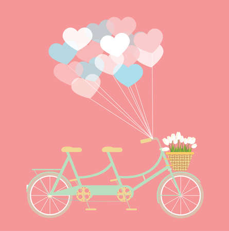 Tandem: Tandem bicycle with balloons and basket of tulip flowers