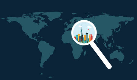 bilding: World map and city increased by magnifier Illustration