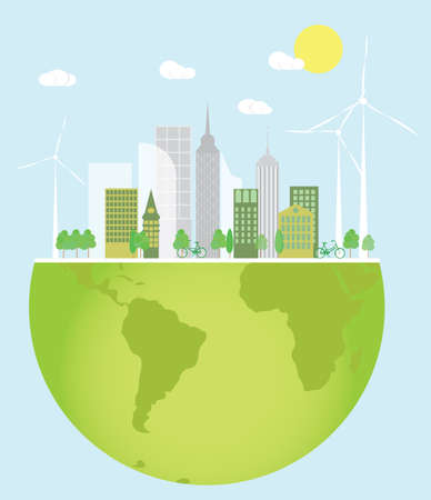 turbines: Eco friendly green city with wind turbines