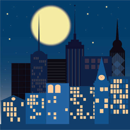 Night in the city on a dark blue background