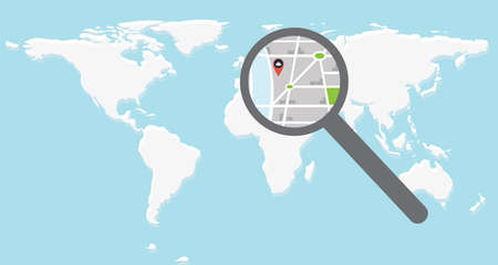 World map and direction with pin under magnifier