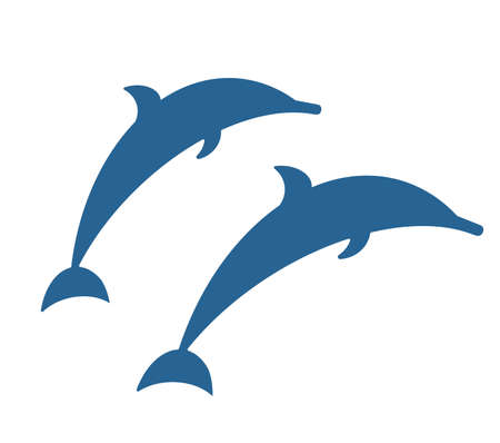 Isolated blue siple flat dolphins. Vector illustration
