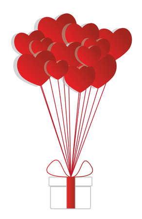 red balloons: Vector gift box with red ribbon and red heart balloons