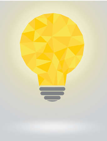 yellow bulb: Polygonal yellow bulb on a grey background, text can be added Illustration