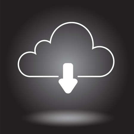 outgoing: Cloud silhouette with outgoing arrow on black gradient. Vector illustration