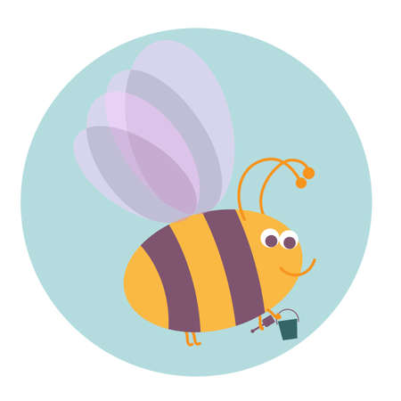 bumble: Cute smiling bumble bee with pail and shovel on a blue dackground Illustration