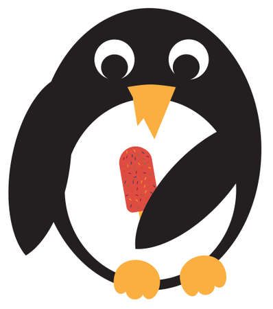 dine: Penguin holds ice cream in wings. Vector illustration