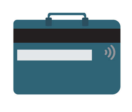 illustraton: Credit card and luggage concept in flat design style. Vector illustraton. Text can be added