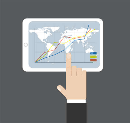 stockmarket chart: Hand click on tablet diagramm and world mapbackground it. Vector illustration. Data source: NASA Illustration