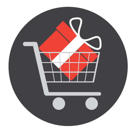 red gift box: Red gift box in shopping cart on a grey background