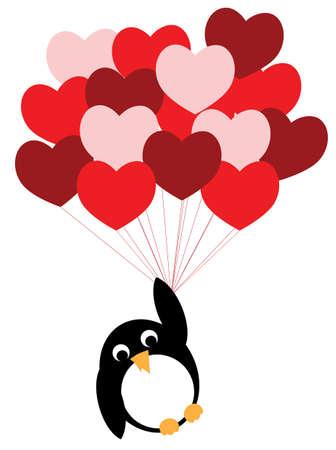 red balloons: Enamored penguin flies on a red heart balloons, Cartoon vector illustration