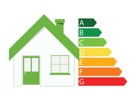 energetic: Ecology house icon with energetic classes. Vector illustration Illustration
