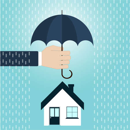 House inshuronce, agents hand holding umbrella over house. Vector illustration