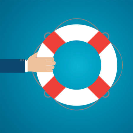 financial emergency: Helping hand with lifebuoy. Text can be added