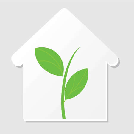 sprout: Home silhouette icon with green sprout. Vector illustrtaion